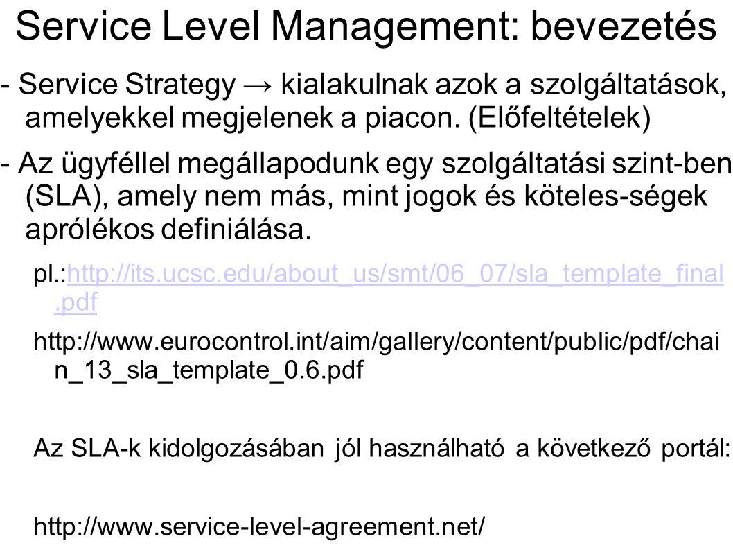 Service Level Management: bevezetés - Service Strategy → kialakulnak azok a szolgáltatások, amelyekkel megjelenek a piacon. (Előfeltételek) - Az ügyfé