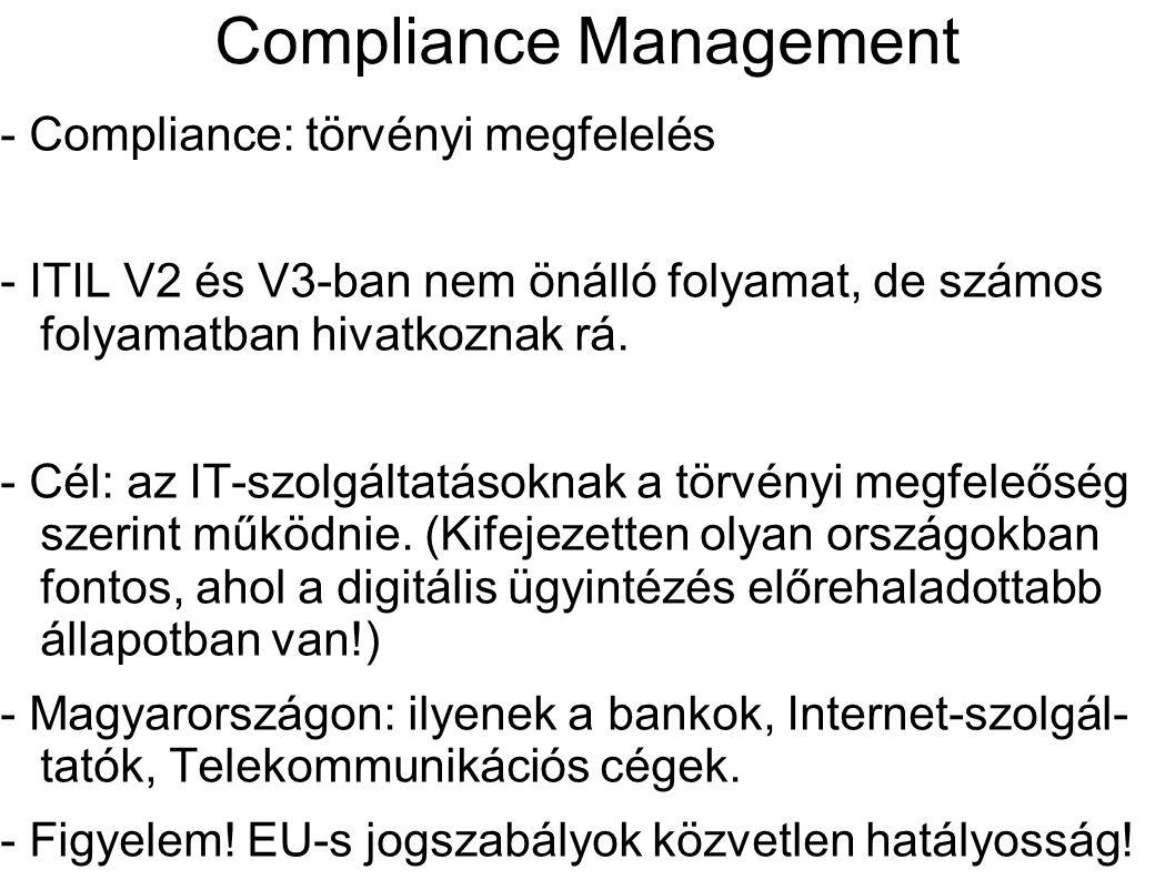 Compliance Management - Compliance: törvényi megfelelés - ITIL V2 és V3-ban nem önálló folyamat, de számos folyamatban hivatkoznak rá. - Cél: az IT-sz
