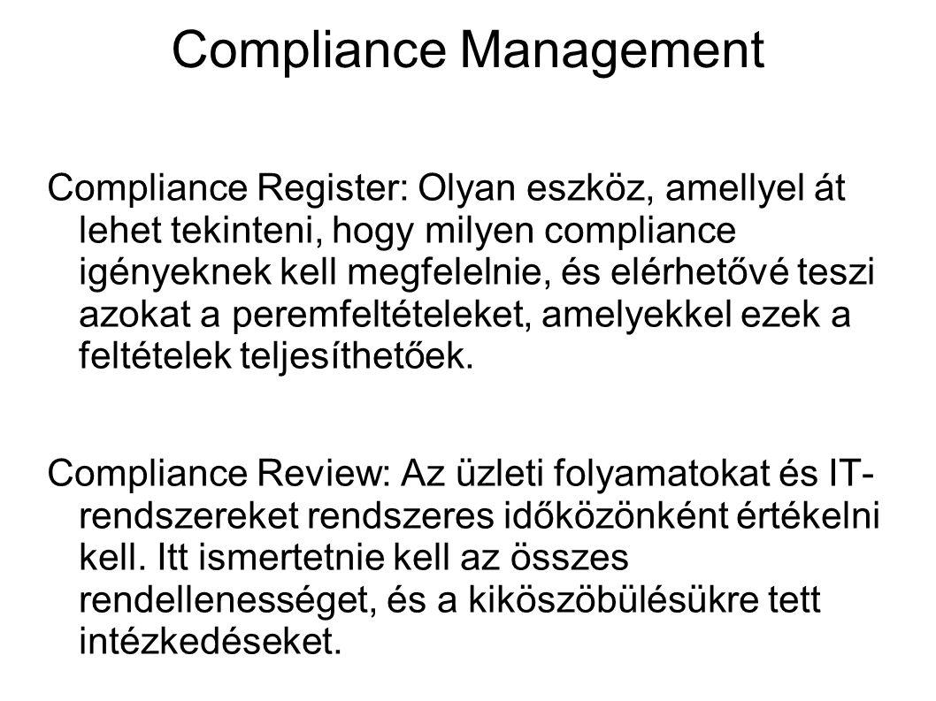 Compliance Management Compliance Register: Olyan eszköz, amellyel át lehet tekinteni, hogy milyen compliance igényeknek kell megfelelnie, és elérhetőv
