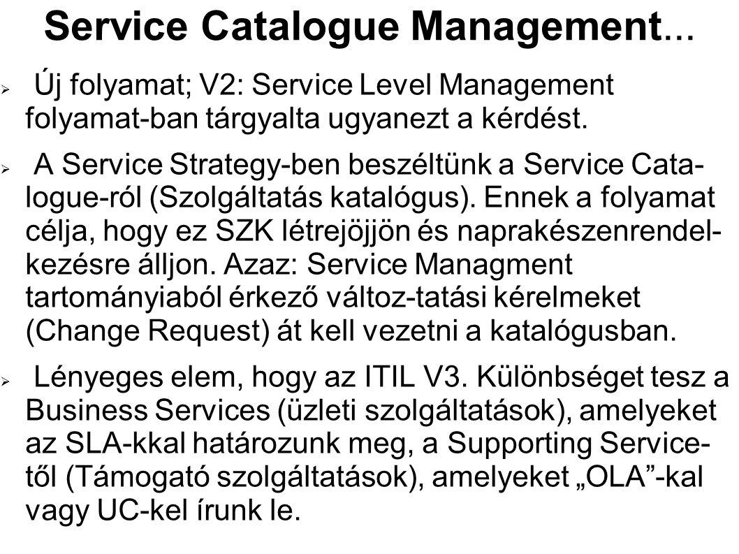 Service Catalogue Management...  Új folyamat; V2: Service Level Management folyamat-ban tárgyalta ugyanezt a kérdést.  A Service Strategy-ben beszél