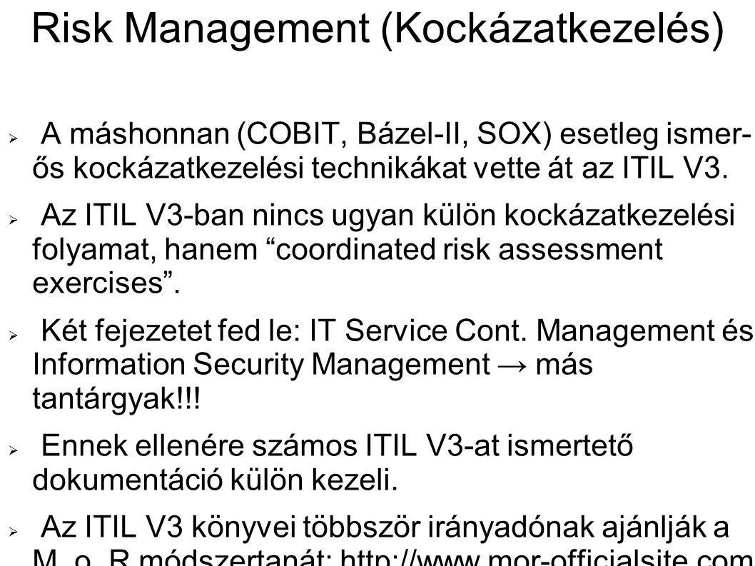 Risk Management (Kockázatkezelés)  A máshonnan (COBIT, Bázel-II, SOX) esetleg ismer- ős kockázatkezelési technikákat vette át az ITIL V3.  Az ITIL V