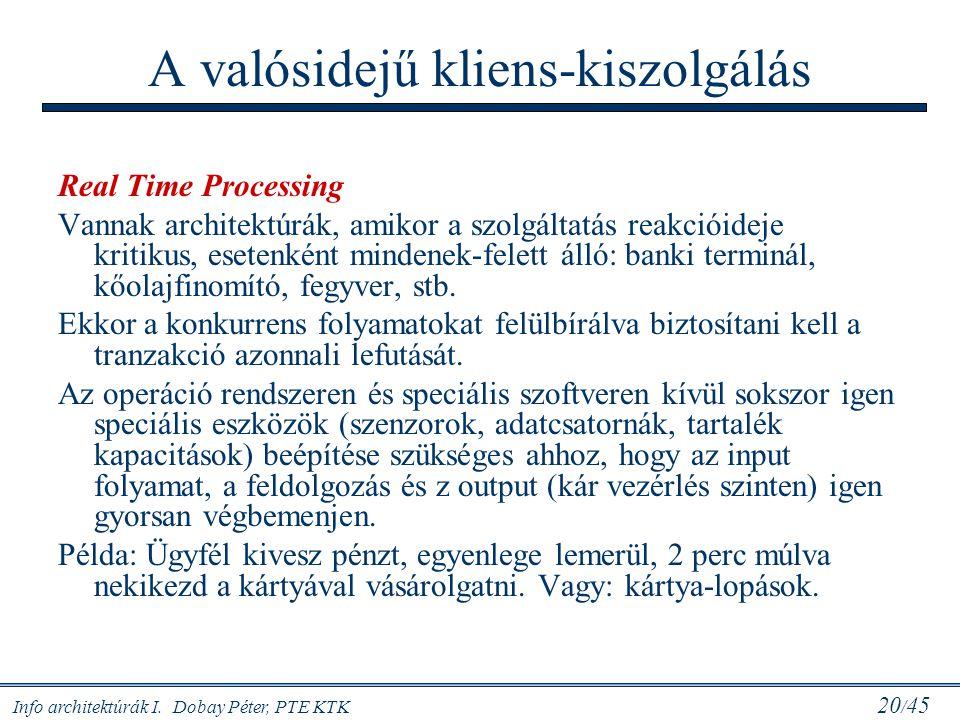 Info architektúrák I. Dobay Péter, PTE KTK 20 / 45 A valósidejű kliens-kiszolgálás Real Time Processing Vannak architektúrák, amikor a szolgáltatás re