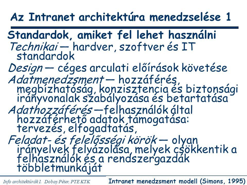 Info architektúrák I. Dobay Péter, PTE KTK 27 / 45 Az Intranet architektúra menedzselése 1 Standardok, amiket fel lehet használni Technikai — hardver,