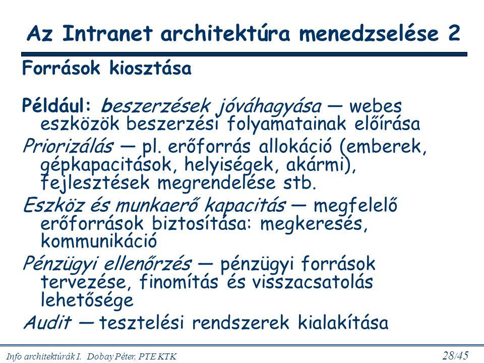 Info architektúrák I. Dobay Péter, PTE KTK 28 / 45 Források kiosztása Például: beszerzések jóváhagyása — webes eszközök beszerzési folyamatainak előír