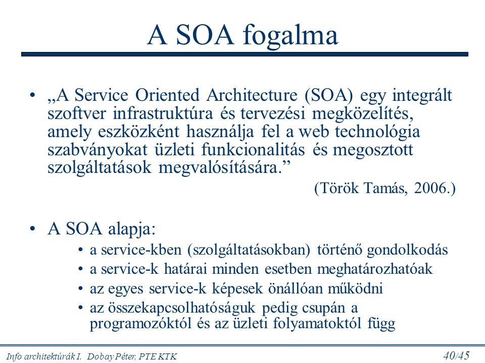 """Info architektúrák I. Dobay Péter, PTE KTK 40 / 45 A SOA fogalma """"A Service Oriented Architecture (SOA) egy integrált szoftver infrastruktúra és terve"""