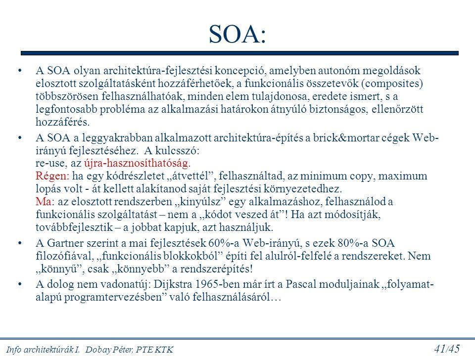Info architektúrák I. Dobay Péter, PTE KTK 41 / 45 SOA: A SOA olyan architektúra-fejlesztési koncepció, amelyben autonóm megoldások elosztott szolgált