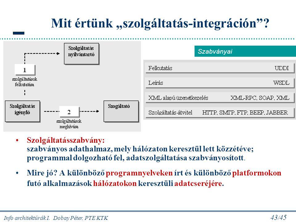 """Info architektúrák I. Dobay Péter, PTE KTK 43 / 45 Mit értünk """"szolgáltatás-integráción""""? Szolgáltatásszabvány: szabványos adathalmaz, mely hálózaton"""