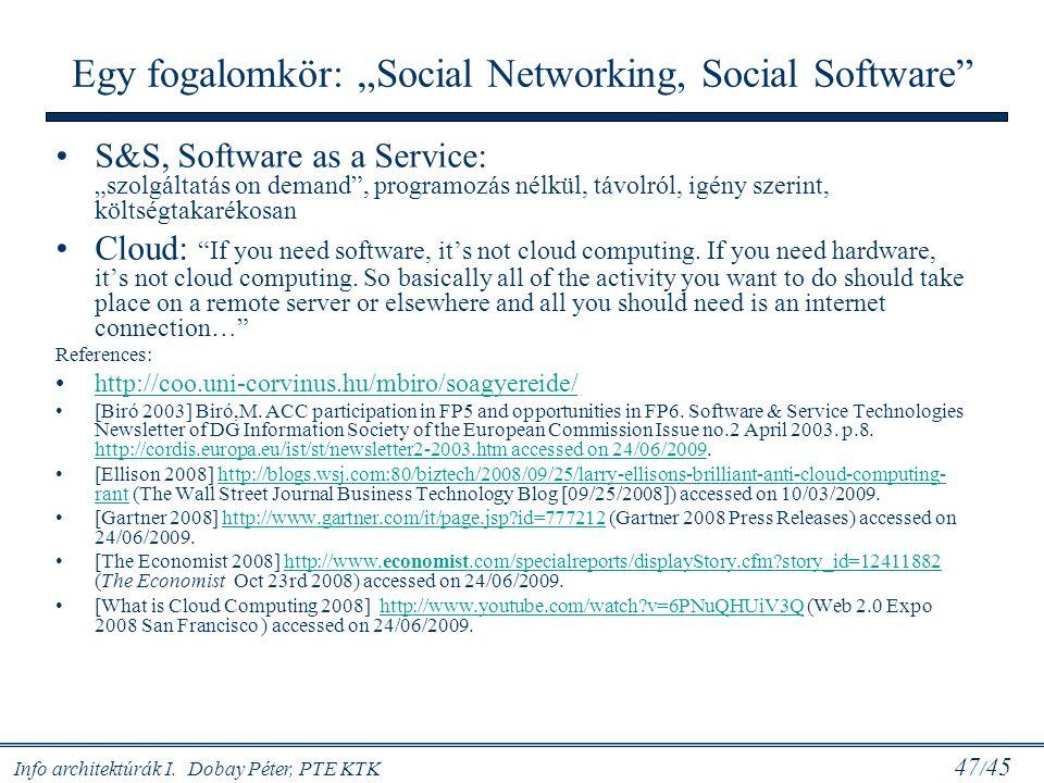 """Info architektúrák I. Dobay Péter, PTE KTK 47 / 45 Egy fogalomkör: """"Social Networking, Social Software"""" S&S, Software as a Service: """"szolgáltatás on d"""