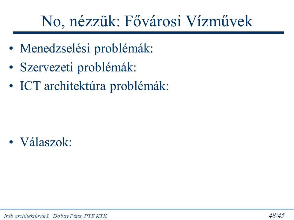 Info architektúrák I. Dobay Péter, PTE KTK 48 / 45 No, nézzük: Fővárosi Vízművek Menedzselési problémák: Szervezeti problémák: ICT architektúra problé
