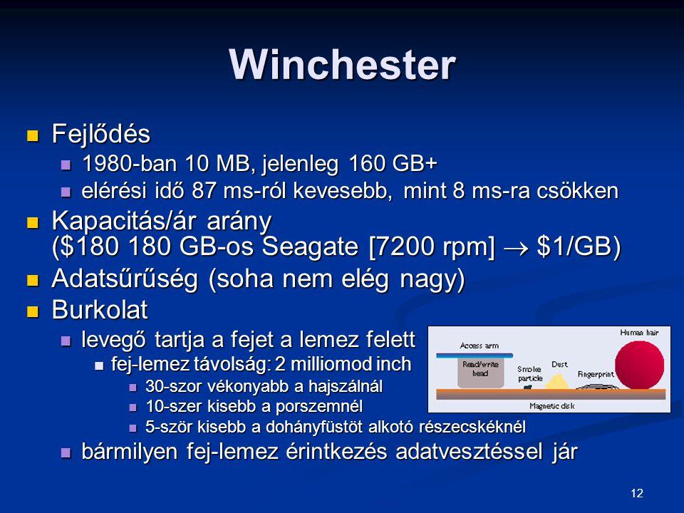 12 Winchester Fejlődés Fejlődés 1980-ban 10 MB, jelenleg 160 GB+ 1980-ban 10 MB, jelenleg 160 GB+ elérési idő 87 ms-ról kevesebb, mint 8 ms-ra csökken