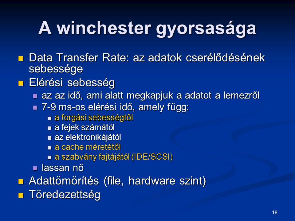 18 A winchester gyorsasága Data Transfer Rate: az adatok cserélődésének sebessége Data Transfer Rate: az adatok cserélődésének sebessége Elérési sebes