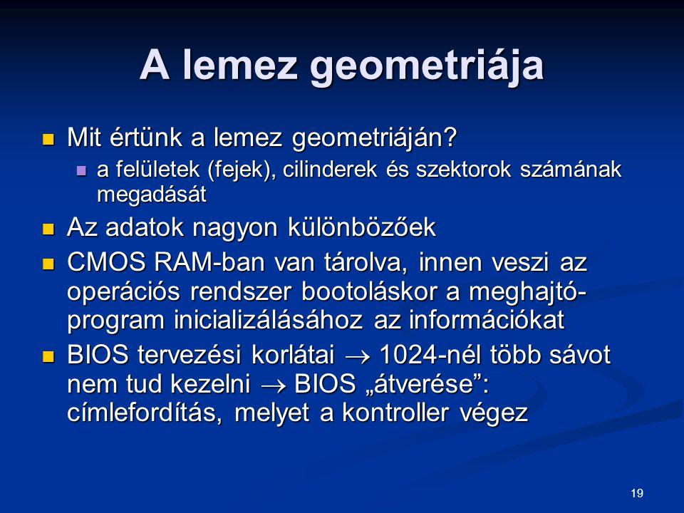 19 A lemez geometriája Mit értünk a lemez geometriáján? Mit értünk a lemez geometriáján? a felületek (fejek), cilinderek és szektorok számának megadás