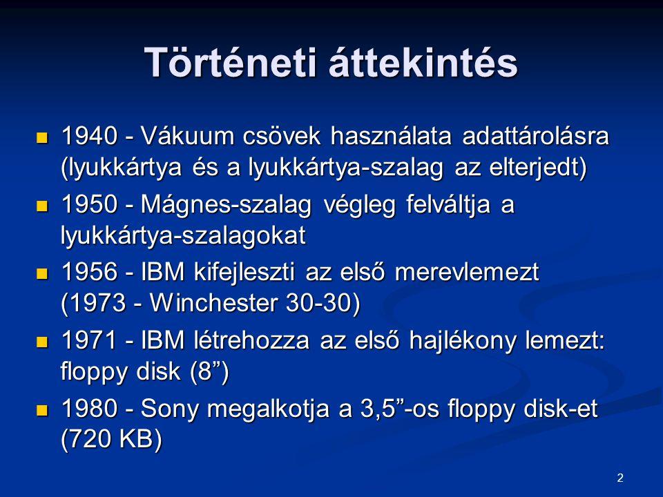 2 Történeti áttekintés 1940 - Vákuum csövek használata adattárolásra (lyukkártya és a lyukkártya-szalag az elterjedt) 1940 - Vákuum csövek használata