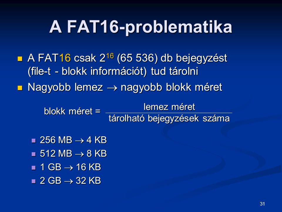 31 A FAT16-problematika A FAT16 csak 2 16 (65 536) db bejegyzést (file-t - blokk információt) tud tárolni A FAT16 csak 2 16 (65 536) db bejegyzést (fi