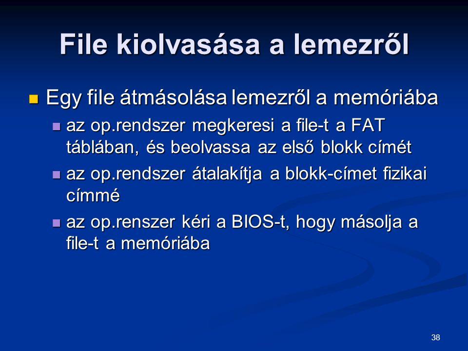 38 File kiolvasása a lemezről Egy file átmásolása lemezről a memóriába Egy file átmásolása lemezről a memóriába az op.rendszer megkeresi a file-t a FA