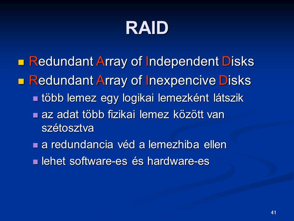 41 RAID Redundant Array of Independent Disks Redundant Array of Independent Disks Redundant Array of Inexpencive Disks Redundant Array of Inexpencive