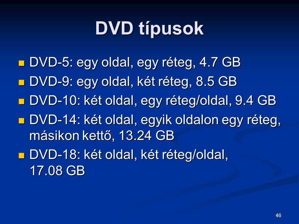 46 DVD típusok DVD-5: egy oldal, egy réteg, 4.7 GB DVD-5: egy oldal, egy réteg, 4.7 GB DVD-9: egy oldal, két réteg, 8.5 GB DVD-9: egy oldal, két réteg