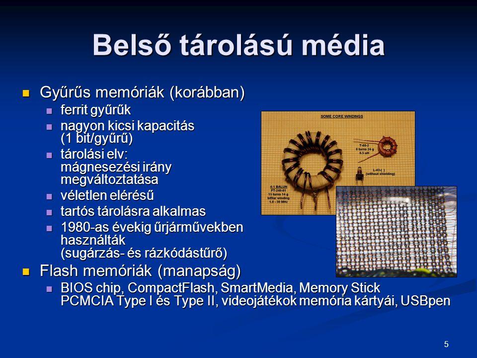 5 Belső tárolású média Gyűrűs memóriák (korábban) Gyűrűs memóriák (korábban) ferrit gyűrűk ferrit gyűrűk nagyon kicsi kapacitás (1 bit/gyűrű) nagyon k