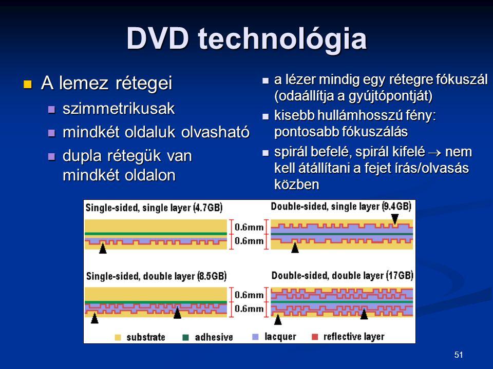 51 DVD technológia A lemez rétegei A lemez rétegei szimmetrikusak szimmetrikusak mindkét oldaluk olvasható mindkét oldaluk olvasható dupla rétegük van