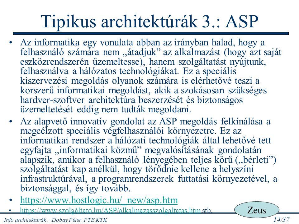 """Info architektúrák. Dobay Péter, PTE KTK 14 / 37 Az informatika egy vonulata abban az irányban halad, hogy a felhasználó számára nem """"átadjuk"""" az alka"""
