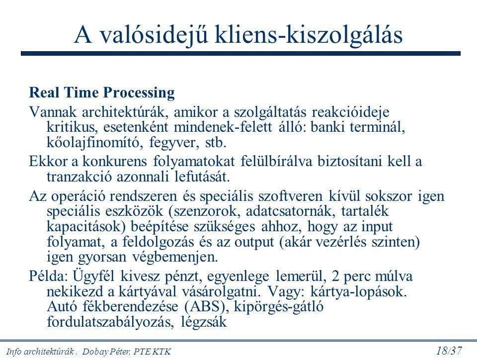 Info architektúrák. Dobay Péter, PTE KTK 18 / 37 A valósidejű kliens-kiszolgálás Real Time Processing Vannak architektúrák, amikor a szolgáltatás reak