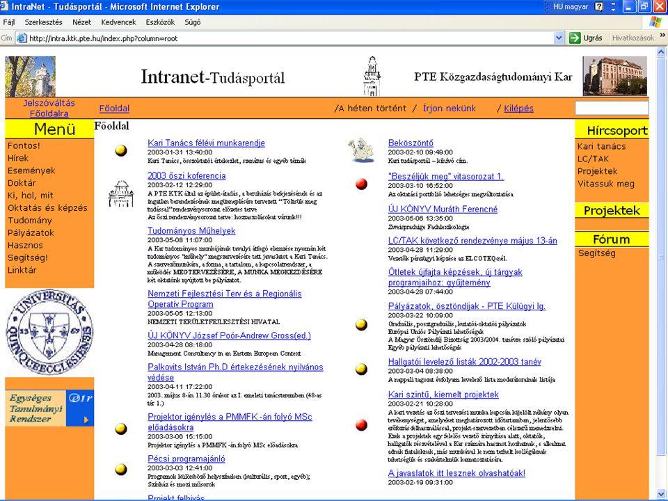 Info architektúrák. Dobay Péter, PTE KTK 23 / 37