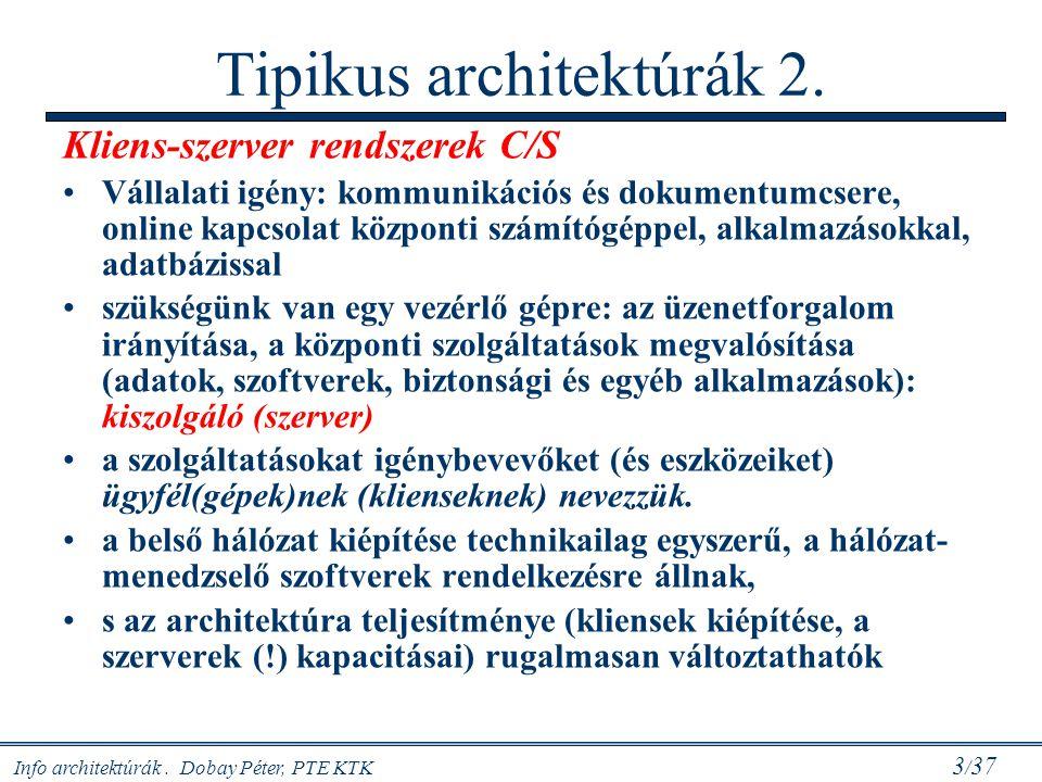 Info architektúrák. Dobay Péter, PTE KTK 3 / 37 Tipikus architektúrák 2. Kliens-szerver rendszerek C/S Vállalati igény: kommunikációs és dokumentumcse