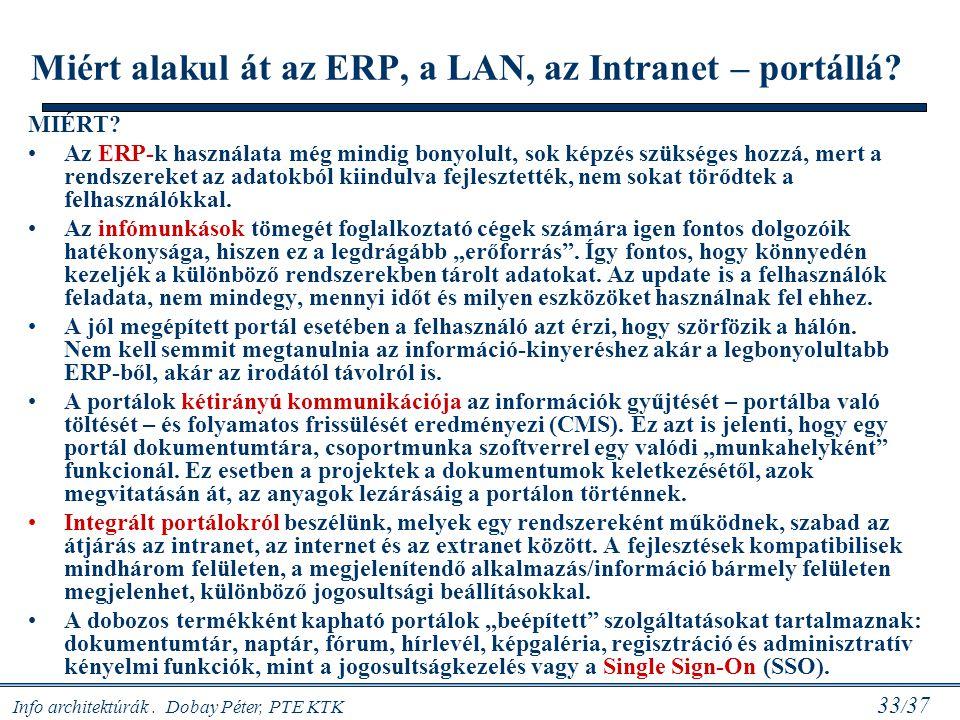 Info architektúrák. Dobay Péter, PTE KTK 33 / 37 Miért alakul át az ERP, a LAN, az Intranet – portállá? MIÉRT? Az ERP-k használata még mindig bonyolul