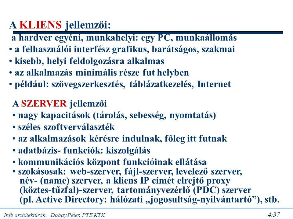 Info architektúrák. Dobay Péter, PTE KTK 4 / 37 A KLIENS jellemzői: a hardver egyéni, munkahelyi: egy PC, munkaállomás a felhasználói interfész grafik