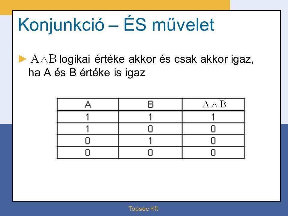 Topsec Kft. Konjunkció – ÉS művelet ► logikai értéke akkor és csak akkor igaz, ha A és B értéke is igaz
