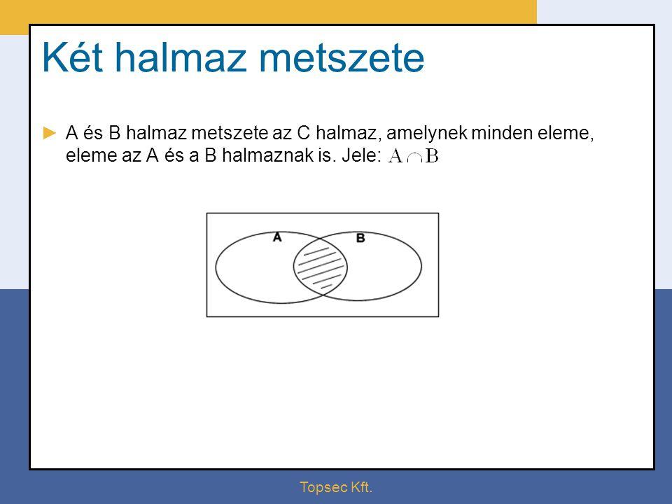 Topsec Kft. Két halmaz metszete ►A és B halmaz metszete az C halmaz, amelynek minden eleme, eleme az A és a B halmaznak is. Jele: