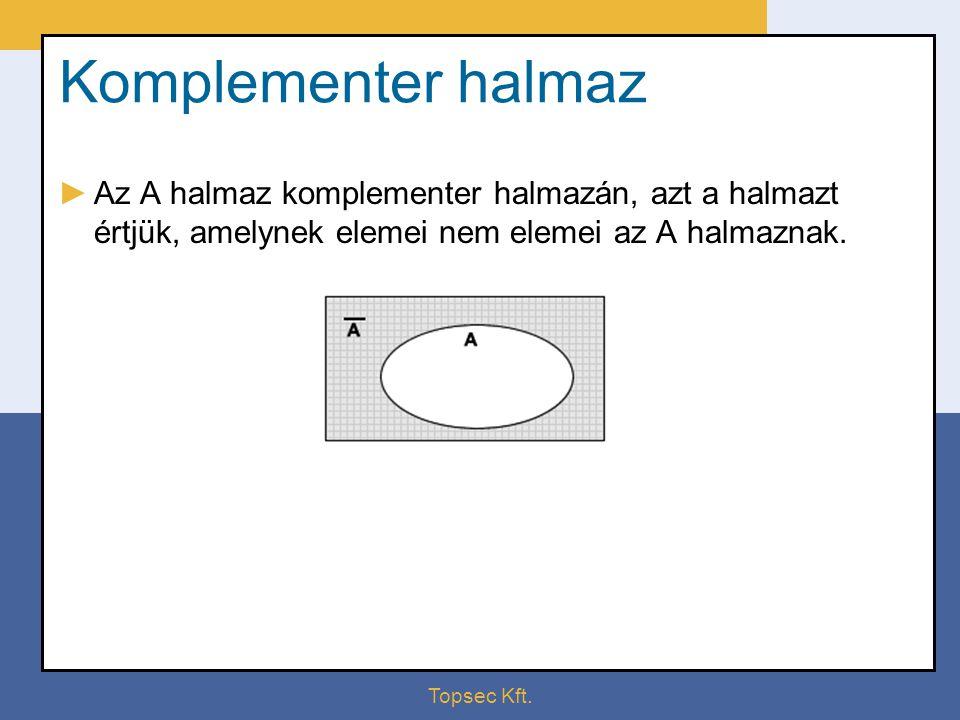 Topsec Kft. Komplementer halmaz ►Az A halmaz komplementer halmazán, azt a halmazt értjük, amelynek elemei nem elemei az A halmaznak.