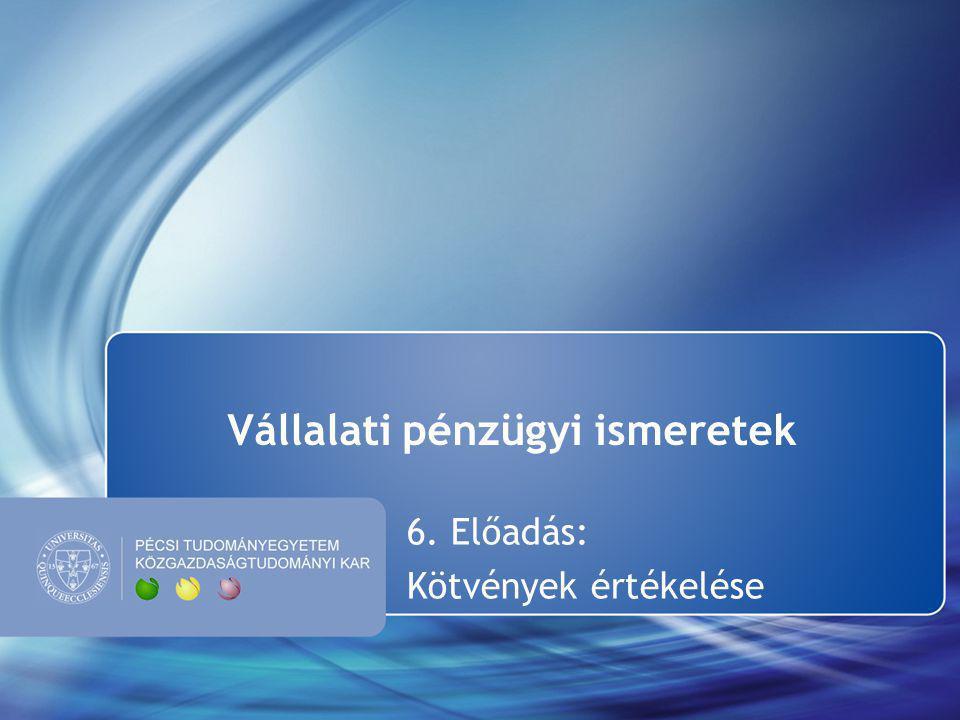 Vállalati pénzügyi ismeretek 6. Előadás: Kötvények értékelése