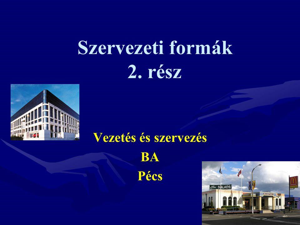 Szervezeti formák 2. rész Vezetés és szervezés BA Pécs