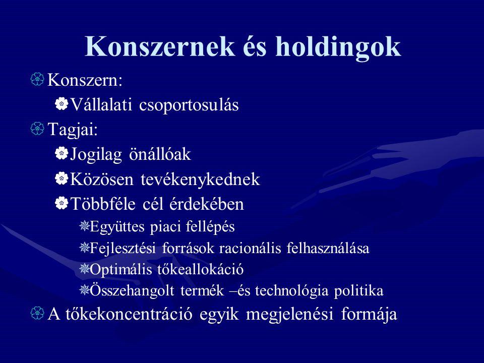 Konszernek és holdingok  Konszern:  Vállalati csoportosulás  Tagjai:  Jogilag önállóak  Közösen tevékenykednek  Többféle cél érdekében  Együtte