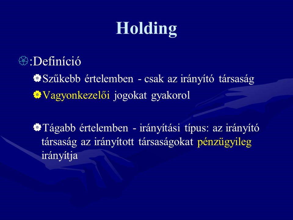 Holding  :Definíció  Szűkebb értelemben - csak az irányító társaság  Vagyonkezelői jogokat gyakorol  Tágabb értelemben - irányítási típus: az irán