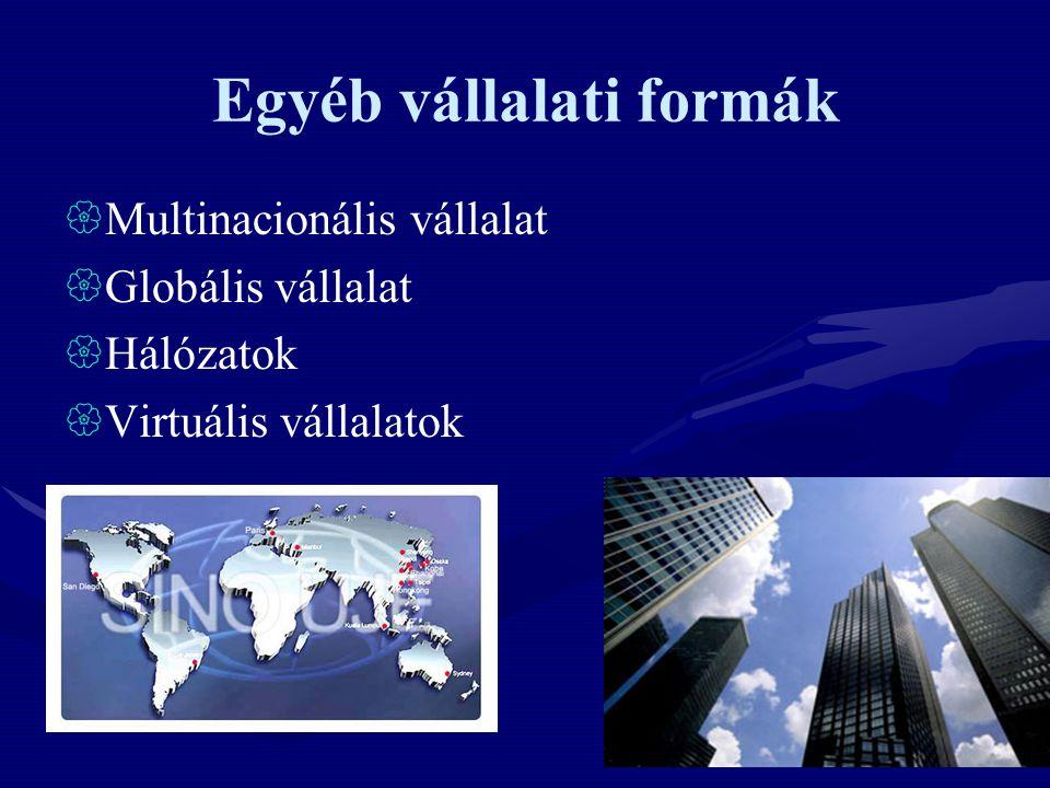 Egyéb vállalati formák  Multinacionális vállalat  Globális vállalat  Hálózatok  Virtuális vállalatok