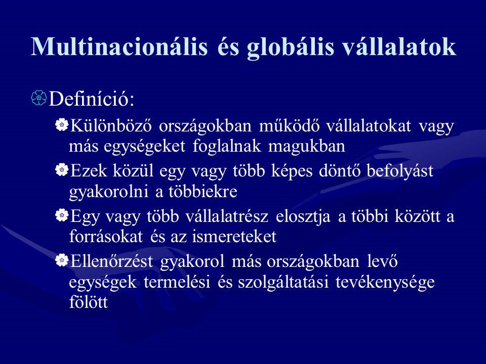Multinacionális és globális vállalatok  Definíció:  Különböző országokban működő vállalatokat vagy más egységeket foglalnak magukban  Ezek közül eg