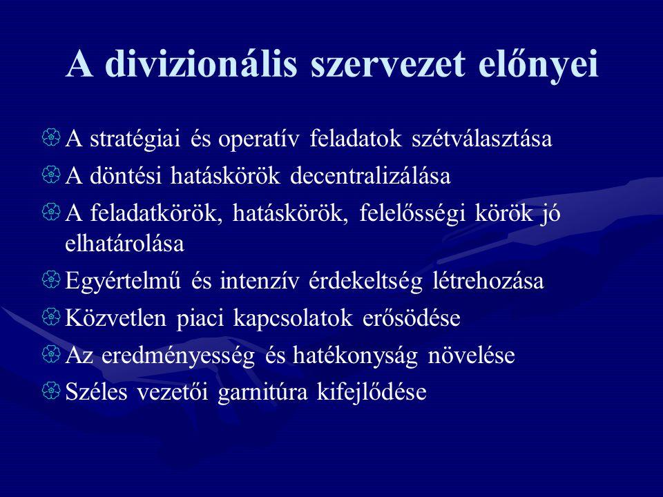 A divizionális szervezet előnyei  A stratégiai és operatív feladatok szétválasztása  A döntési hatáskörök decentralizálása  A feladatkörök, hatáskö