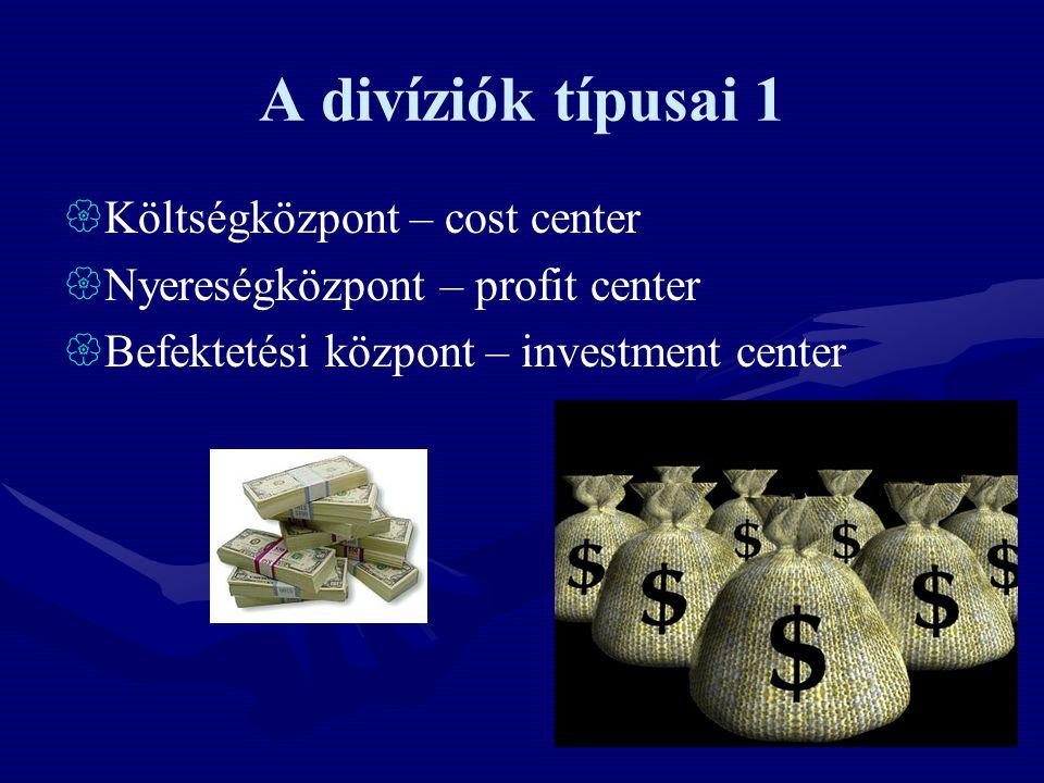 A divíziók típusai 1  Költségközpont – cost center  Nyereségközpont – profit center  Befektetési központ – investment center