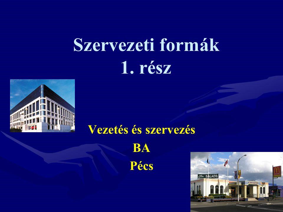 Szervezeti formák 1. rész Vezetés és szervezés BA Pécs