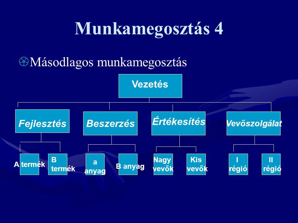 Munkamegosztás 4  Másodlagos munkamegosztás Beszerzés Vevőszolgálat A termék Nagy vevők Kis vevők I régió II régió Vezetés Fejlesztés Értékesítés B termék a anyag B anyag