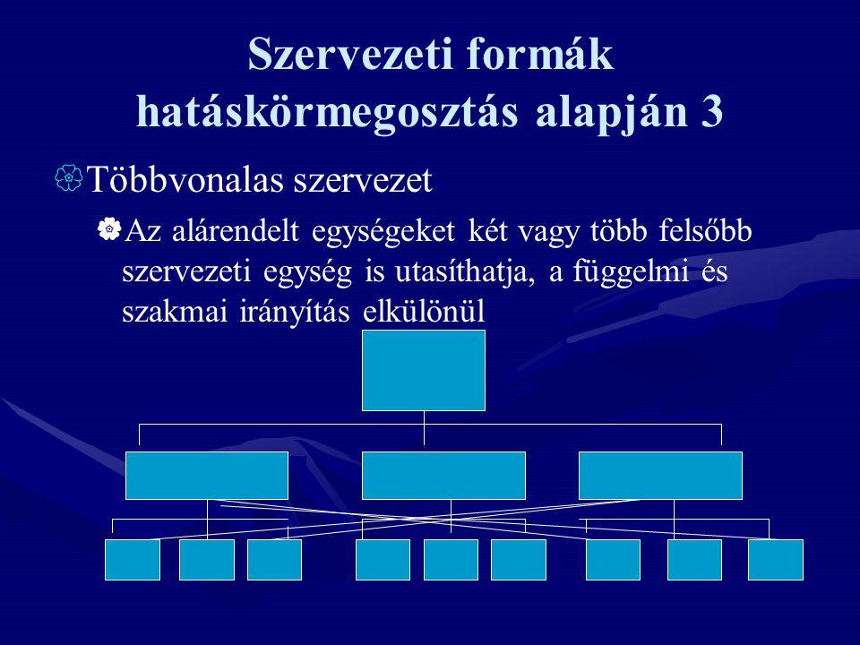 Szervezeti formák hatáskörmegosztás alapján 3  Többvonalas szervezet  Az alárendelt egységeket két vagy több felsőbb szervezeti egység is utasíthatj
