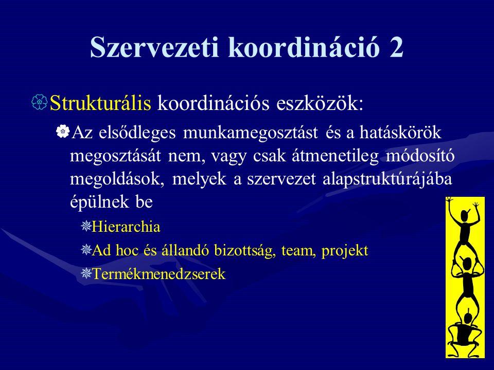 Szervezeti koordináció 2  Strukturális koordinációs eszközök:  Az elsődleges munkamegosztást és a hatáskörök megosztását nem, vagy csak átmenetileg módosító megoldások, melyek a szervezet alapstruktúrájába épülnek be  Hierarchia  Ad hoc és állandó bizottság, team, projekt  Termékmenedzserek