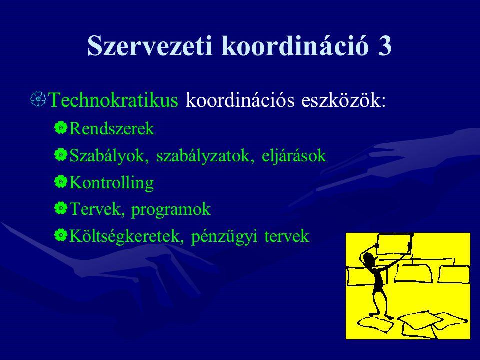 Szervezeti koordináció 3  Technokratikus koordinációs eszközök:  Rendszerek  Szabályok, szabályzatok, eljárások  Kontrolling  Tervek, programok  Költségkeretek, pénzügyi tervek