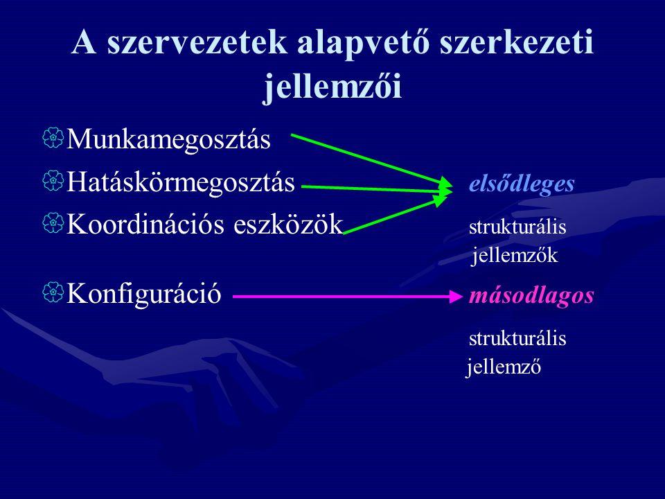 A szervezetek alapvető szerkezeti jellemzői  Munkamegosztás  Hatáskörmegosztás elsődleges  Koordinációs eszközök strukturális jellemzők  Konfigurá