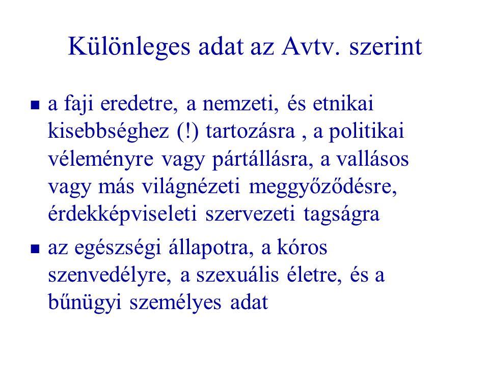 Különleges adat az Avtv. szerint a faji eredetre, a nemzeti, és etnikai kisebbséghez (!) tartozásra, a politikai véleményre vagy pártállásra, a vallás