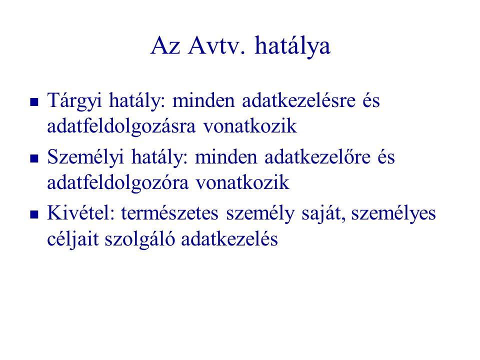 Az Avtv. hatálya Tárgyi hatály: minden adatkezelésre és adatfeldolgozásra vonatkozik Személyi hatály: minden adatkezelőre és adatfeldolgozóra vonatkoz