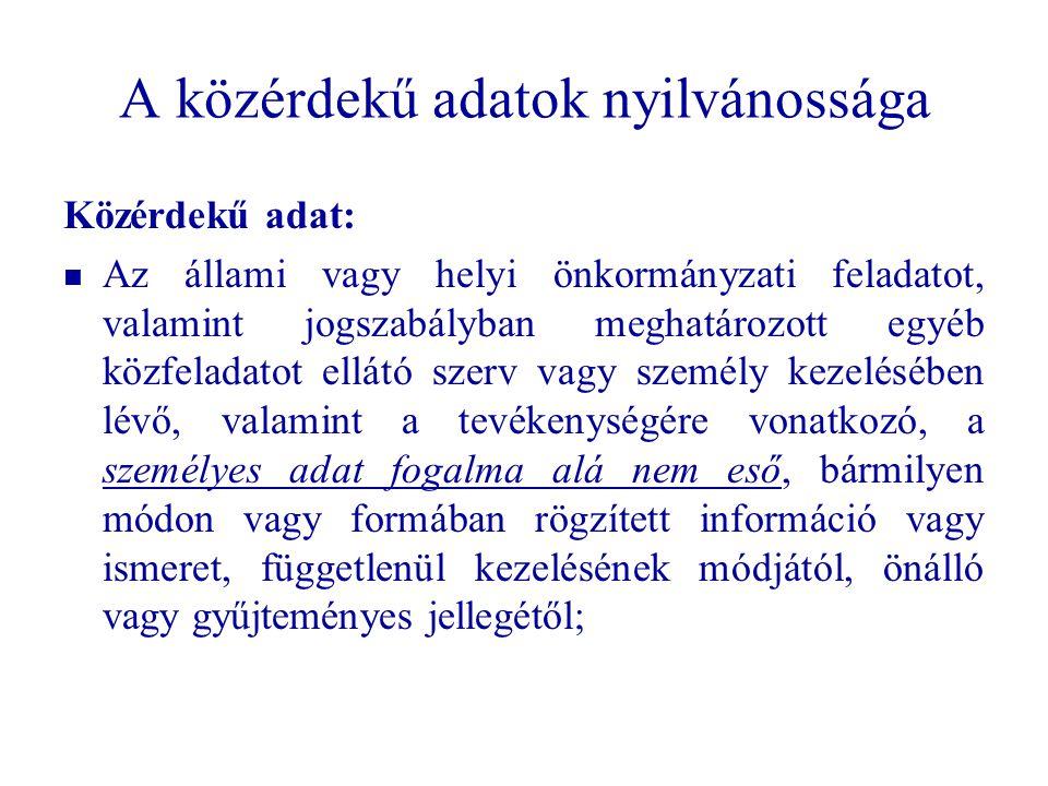 29 A közérdekű adatok nyilvánossága Közérdekű adat: Az állami vagy helyi önkormányzati feladatot, valamint jogszabályban meghatározott egyéb közfelada