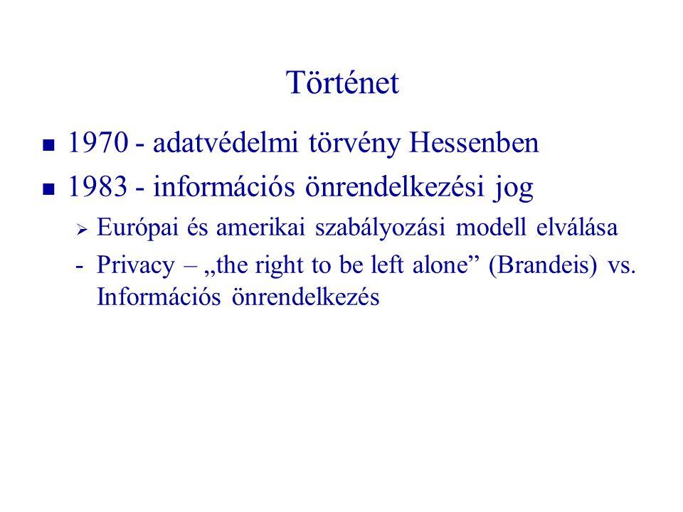 """Történet 1970 - adatvédelmi törvény Hessenben 1983 - információs önrendelkezési jog  Európai és amerikai szabályozási modell elválása -Privacy – """"the"""